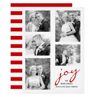 Noël rouge de collage de photo des nouveaux mariés carton d'invitation  12,7 cm x 17,78 cm