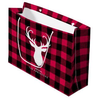 Noël rouge de fête de motif de plaid grand sac cadeau