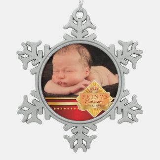 Noël rouge de photo de prince bébé ornement flocon de neige pewter