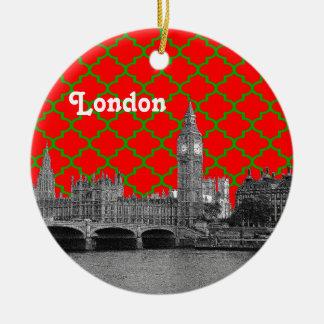 Noël rouge de Quatrefoil BG de vert gravure à Ornement Rond En Céramique