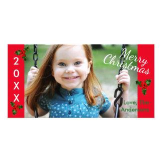 Noël rouge du houx 3 Joyeux - carte photo de Noël