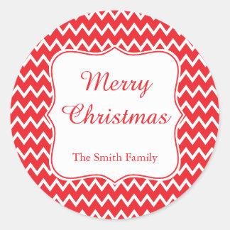 Noël rouge et blanc de Chevron Sticker Rond