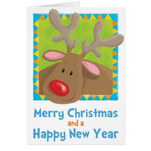 Noël, Rudolf, renne, Noël, amusement, humeur, Se Cartes De Vœux
