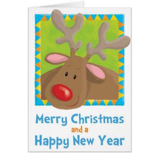 Noël, Rudolf, renne, Noël, amusement, humeur, Se Carte De Vœux
