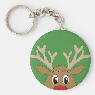 Noël semi-transparent adorable de renne porte-clé rond