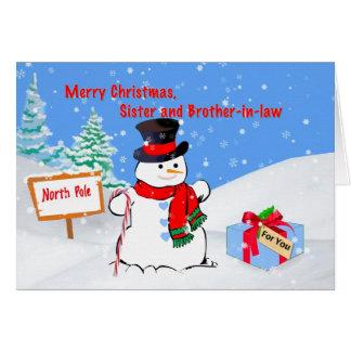 Noël, soeur et beau-frère, bonhomme de neige carte de vœux