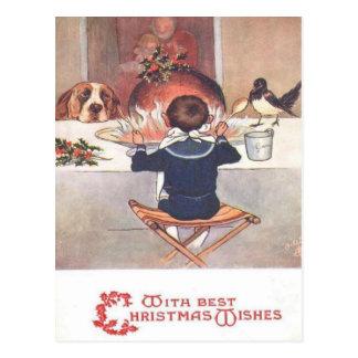 Noël souhaite la carte postale 1906 de Noël de cru