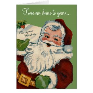 Noël souhaite la rétro carte du père noël