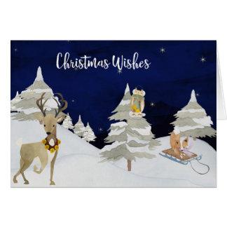 Noël souhaite les animaux mignons d'aquarelle en carte de vœux