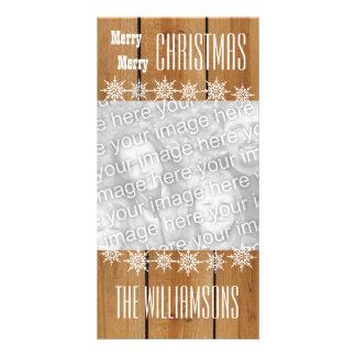 Noël V1 de flocons de neige en bois de texture de Cartes Avec Photo
