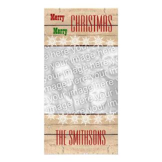 Noël V2 de flocons de neige en bois de texture de Cartes De Vœux Avec Photo