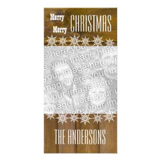 Noël V4 de flocons de neige en bois de texture de Photocarte Customisée