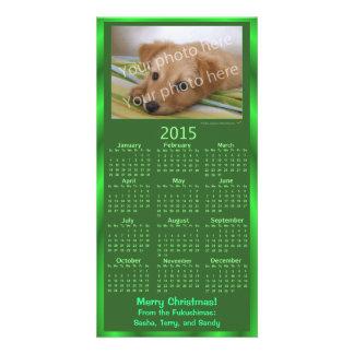 Noël vert de calendrier personnalisable du carte cartes avec photo