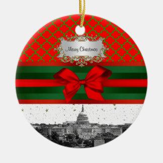 Noël vert rouge de Quatrefoil BG d'horizon de Ornement Rond En Céramique