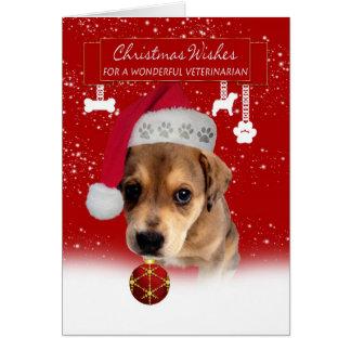 Noël vétérinaire souhaite la carte de voeux avec c
