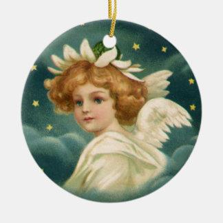 Noël vintage, ange victorien avec des étoiles d'or ornement rond en céramique