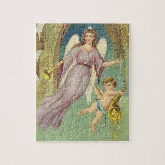 Noël vintage, ange victorien avec l'ange puzzle