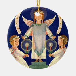 Noël vintage, anges de Père Noël Lucia de Ornement Rond En Céramique