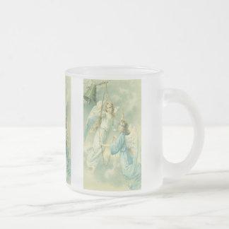 Noël vintage, anges victoriens avec une Bell Mug En Verre Givré