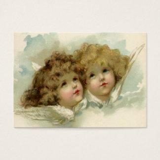 Noël vintage, anges victoriens dans les nuages cartes de visite