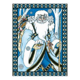 Noël vintage, bleu Snowglobe du père noël Carte Postale