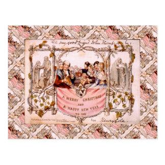 Noël vintage, carte de Noël toute première 1843