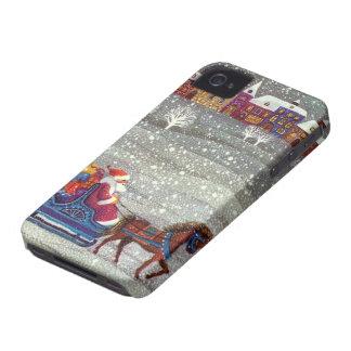 Noël vintage, cheval Sleigh ouvert du père noël Coque Case-Mate iPhone 4