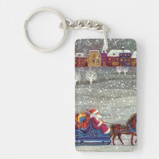 Noël vintage, cheval Sleigh ouvert du père noël Porte-clés
