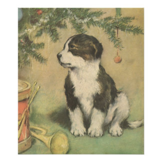 Noël vintage, chiot mignon d'animal familier posters