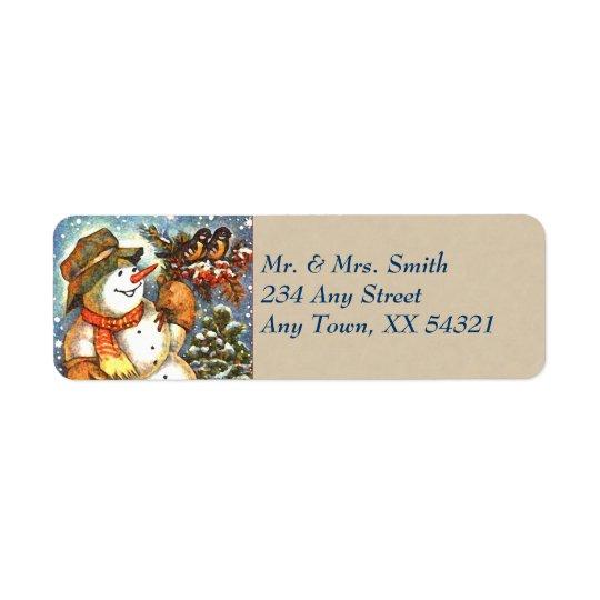 Noël vintage de bonhomme de neige étiquette d'adresse retour