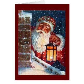 Noël vintage de père du père noël sur la carte de