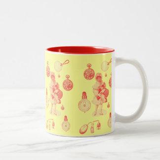 Noël vintage de steampunk avec la fille tasse à café