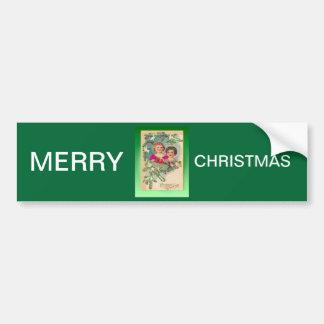 Noël vintage, deux filles et un arbre adhésif pour voiture