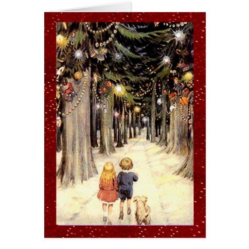 Noël vintage du pays des merveilles d'hiver carte de vœux