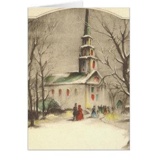 Noël vintage, église en hiver Snowscape Carte De Vœux
