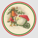 Noël vintage Elf 1910 Adhésifs Ronds