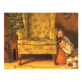 Noël vintage, enfants attendant Père Noël Carte Postale