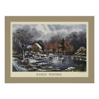 Noël vintage, hiver tôt avec des patineurs de poster