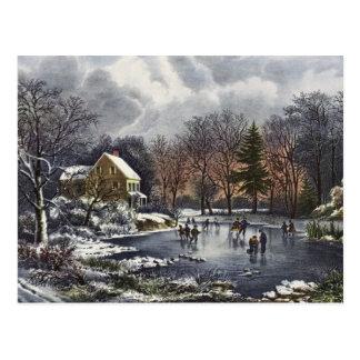 Noël vintage, hiver tôt, patineurs sur l'étang cartes postales