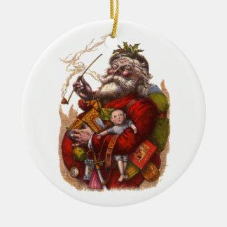 Noël vintage, jouets victoriens de tuyau du père ornement rond en céramique