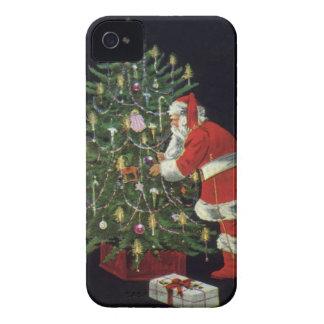 Noël vintage, le père noël avec des présents coque iPhone 4