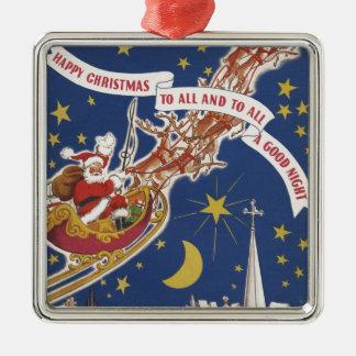 Noël vintage le père noël avec le renne de vol ornement carré argenté