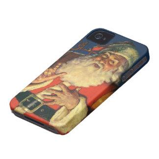 Noël vintage, le père noël gai avec des jouets coque iPhone 4 Case-Mate