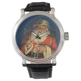 Noël vintage, le père noël gai avec des jouets montres bracelet