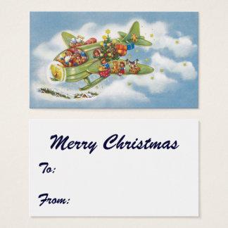 Noël vintage, le père noël pilotant un avion cartes de visite