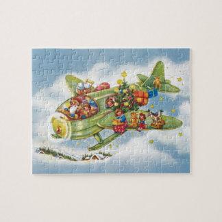 Noël vintage, le père noël pilotant un avion puzzle