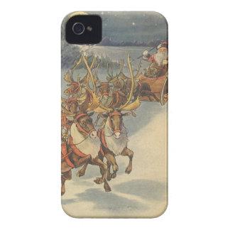 Noël vintage le père noël Sleigh avec le renne Coque Case-Mate iPhone 4