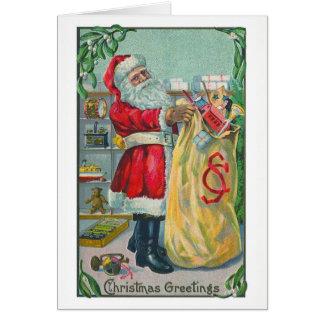 Noël vintage, le père noël victorien avec des cartes