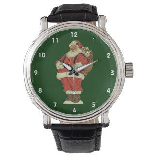 Noël vintage, le père noël victorien avec des montres bracelet