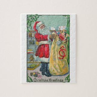 Noël vintage, le père noël victorien avec des puzzle